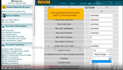 How to create a new hosting account in WHM