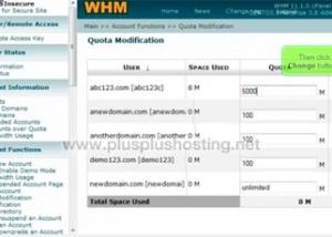 Cómo modificar el límite de espacio de una cuenta en WHM