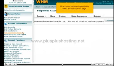 Suspending or Unsuspending an account in WHM