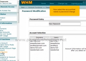 How to change an account password in WHM