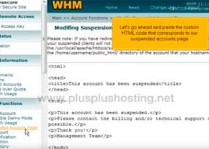 How to modify the Suspended Accounts page in WHM