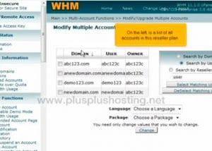 Usando la función de múltiples cuentas en WHM