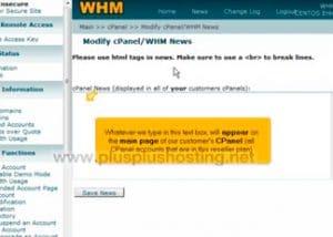 Usando la función de noticias de cPanel en WHM