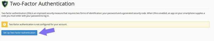 cpanel two factor authentication step 1